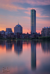 Hancock Tower Sunrise (brentdanley) Tags: longexposure reflection boston clouds sunrise massachusetts charlesriver slowshutter hdr backbay hancocktower johnhancocktower 3exp bdp:architecture=boston