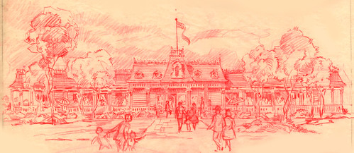 Disneyland Red Wagon Inn Illustration, 1955