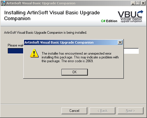 Error VBUC no Visual Studio installed pre-ORCA
