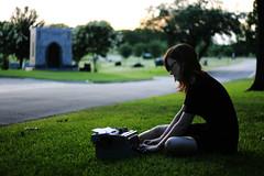 Sweet Phoenix. (The Vision Beautiful) Tags: sunset phoenix girl cemetery graveyard typewriter 50mm inspired mausoleum poet writer brunette f18 author blackdress lauracook