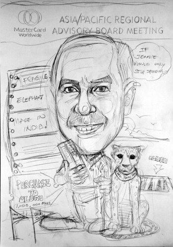Caricature of Heuer Mastercard pencil sketch 2