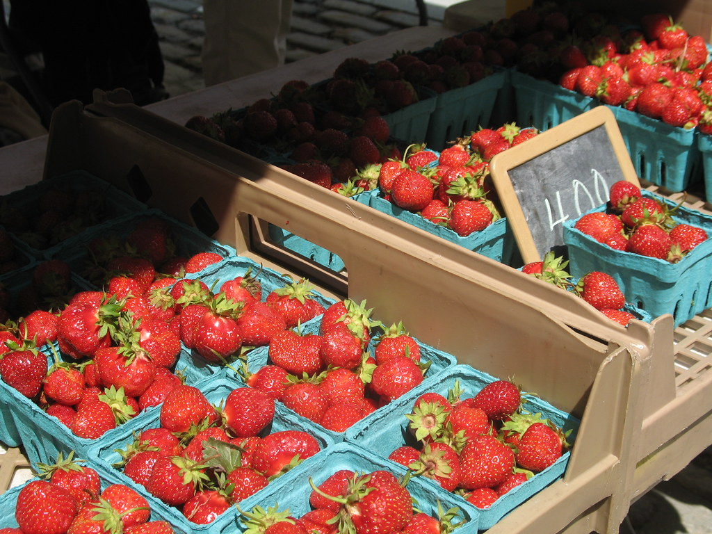 strawberries at market