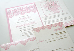 Shimmer Lace Invitation (Sarah Parrott) Tags: pink wedding brown shine map lace invitation fancy elegant custom invite opal personalized shimmer rsvp