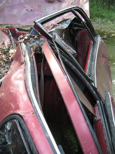 Abandoned car, crushed