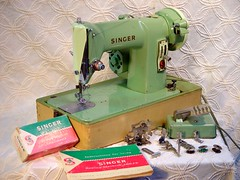 Vintage Singer 185-J3 Portable Green Machine circa 1958 (SurrendrDorothy) Tags: old usa color green love fashion vintage bag fun portable fifties handmade antique unique ooak gorgeous maine purse earthy 1950s singer hippie handcrafted casual 50s etsy sewingmachine boho decor homedecor artisan midcentury rebuilt artfire carrycase homegoods surrenderdorothy womanmade mainemade herroyalmajestybags hrmb raymondmaine zibbet