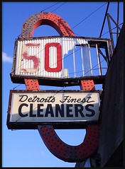 Abandoned Cleaners, Conant Avenue--Detroit MI (pinehurst19475) Tags: city urban abandoned sign closed decay michigan cleaners detroit business solo conant puredetroit detroitsign conantavenue solocleaners