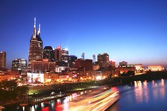 July Night in Nashville (crashmattb) Tags: skyline downtown nashville tennessee photowalk riverfront cumberlandriver canoneosdigitalrebelxti platinumphoto sigma1770mmf2845dc diamondclassphotographer flickrdiamond