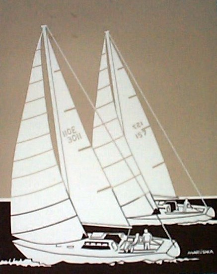 Marushka - two racing sailboats (brown, tan)