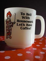 It's Our Motto.... (knittingbettie) Tags: vintage thrift mug 1975 glasbake