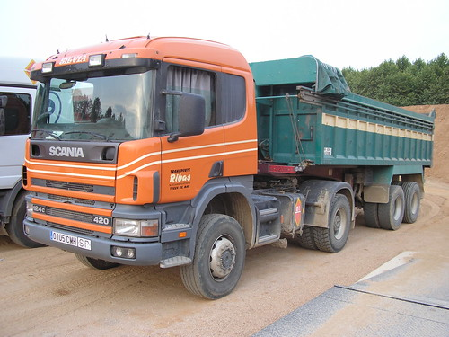 camió Scania de TRANSPORTS RIBAS de Tossa de Mar a Massanes (Girona)