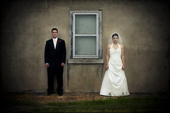 Randy and Lydia (geneoh) Tags: old wedding texture love window face minnesota wall photoshop canon 50mm groom bride serious 14 blank smalltown geneoh