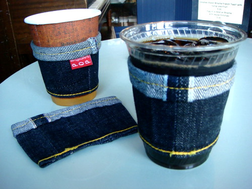 new batch of denim coffee cozies