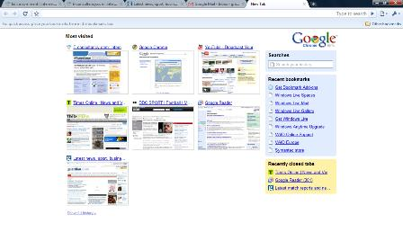 Google Chrome home page