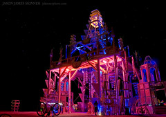 Basura Sagrada - The Temple at Burning Man 2008 (skinr) Tags: longexposure party art beautiful architecture night dark stars lights wooden garbage shrine desert spires towers blackrockcity installation impermanence glowing foundobjects recycling spiralstaircase tallbuilding blackrockdesert thetemple theamericandream doublehelixstaircase burningman2008 wwwjskinnerphotocom jasonjamesskinner basurasagrada sacredtrash