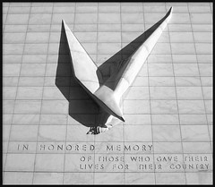 """Victory Eagle"" at Former Veterans Memorial Building--Detroit MI (pinehurst19475) Tags: city shadow urban blackandwhite bw sculpture building art monochrome architecture memorial downtown eagle noiretblanc architecturaldetail michigan detroit victory artdeco riverfront publi"