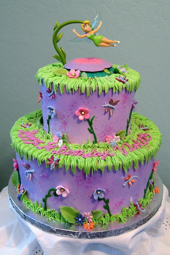 Tiered Tinkerbell Birthday Cake
