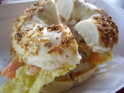 Egg, Lox and Onion Sandwich on Garlic Bagel