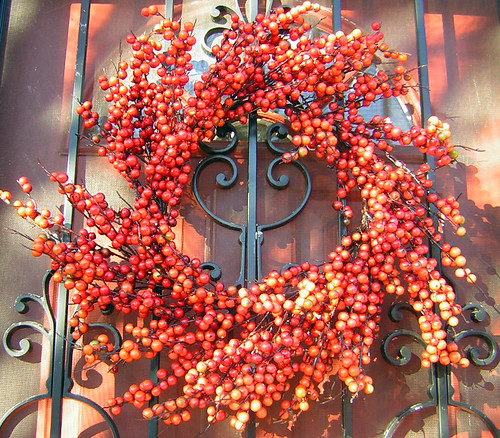 Wrought iron and wreath