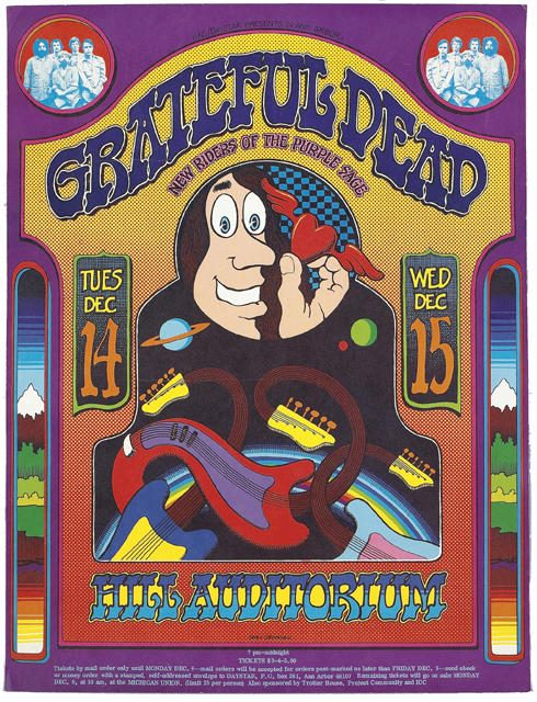 Grateful Dead poster - 12/14/71 Hill Auditorium, University of Michigan, Ann Arbor [from: www.deadlists.com]