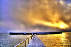Jetty to the Sea Bath Dragoer Denmark (OrangUtanSam) Tags: winter clouds sunrise denmark dragr boardwalk beautifulclouds beautifulsky dragoer photocolor winterbath