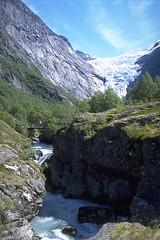 River and glacier (terjesas) Tags: sun ice nature water norway river norge glacier olden nordfjord sognogfjordane terjesas