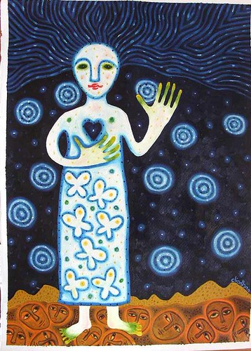 woman standing on earth with her head in the stars