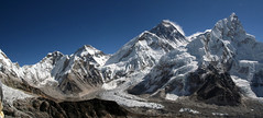 Everest morning panorama (Laszlo Bolgar) Tags: nepal panorama himalaya khumbu everest nuptse kalapattar changtse khumbutse lingtren everestwestridge