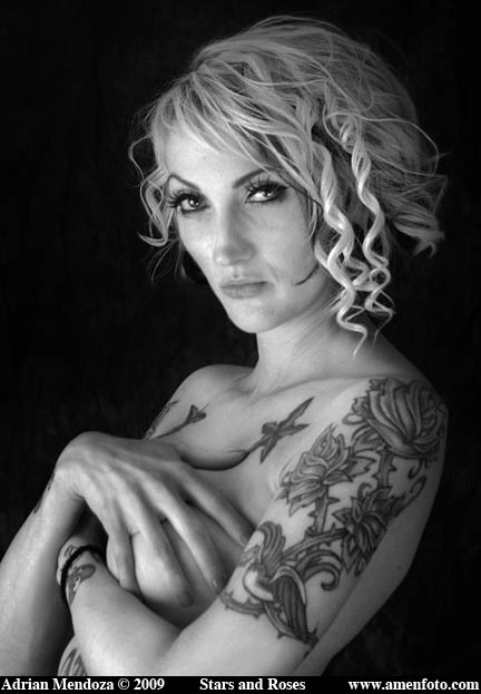 "Stars and Roses. ""Tattoos"" ""Black and White"" Portrait Glamour"