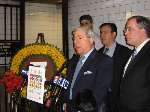 Brooklyn BP Marty Markowitz gives his eulogy for the Z-Train while Gene Russianoff and Scott Stringer look on.