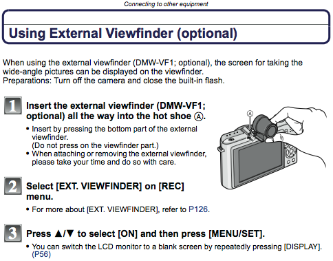 Using an external viewfinder on the LX3, as described on page 175 of the manual