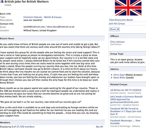 British jobs for British workers Facebook group