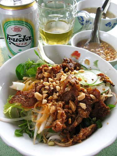 Bun thit nuong and Huda beer, Hue, Vietnam