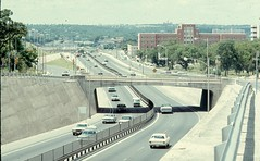 I-35/U.S. 81-290 through Austin, July 1972 (mark_potter_2000) Tags: ford 1969 austin highway texas shell overpass pickup grandprix freeway pontiac 1970 texaco 1972 i35 datsun conoco enco txdot grantorino us81 us290 pontiacgrandprix mobiloil pontiaccatalina pontiacexecutive