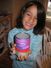 Lil' Mermaid with her first finished yarn can