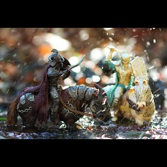 Battle (Mahnie) Tags: horses water creek fun toys bokeh hiking magic battle knights actionfigures swords playful shields holloween mitchellcanyon 100mmmacrof28 canon450d funthingstodowithyourkid