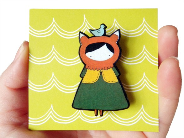 Little Miss Fox - woodcut brooch
