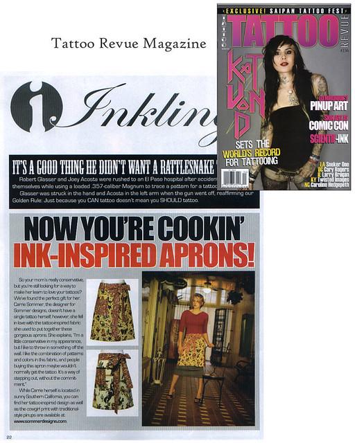 My Tattoo & Sweet Cowgirls Hostess Aprons in Tattoo Revue Magazine ~ I'm