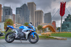 The blue streak (JonBauer) Tags: sanfrancisco blue honda nikon sigma motorcycle hdr highdynamicrange 2007 cbr d300 cbr600rr flickrexplore sigma30mmf14 explored hdrsoft photomatixpro30