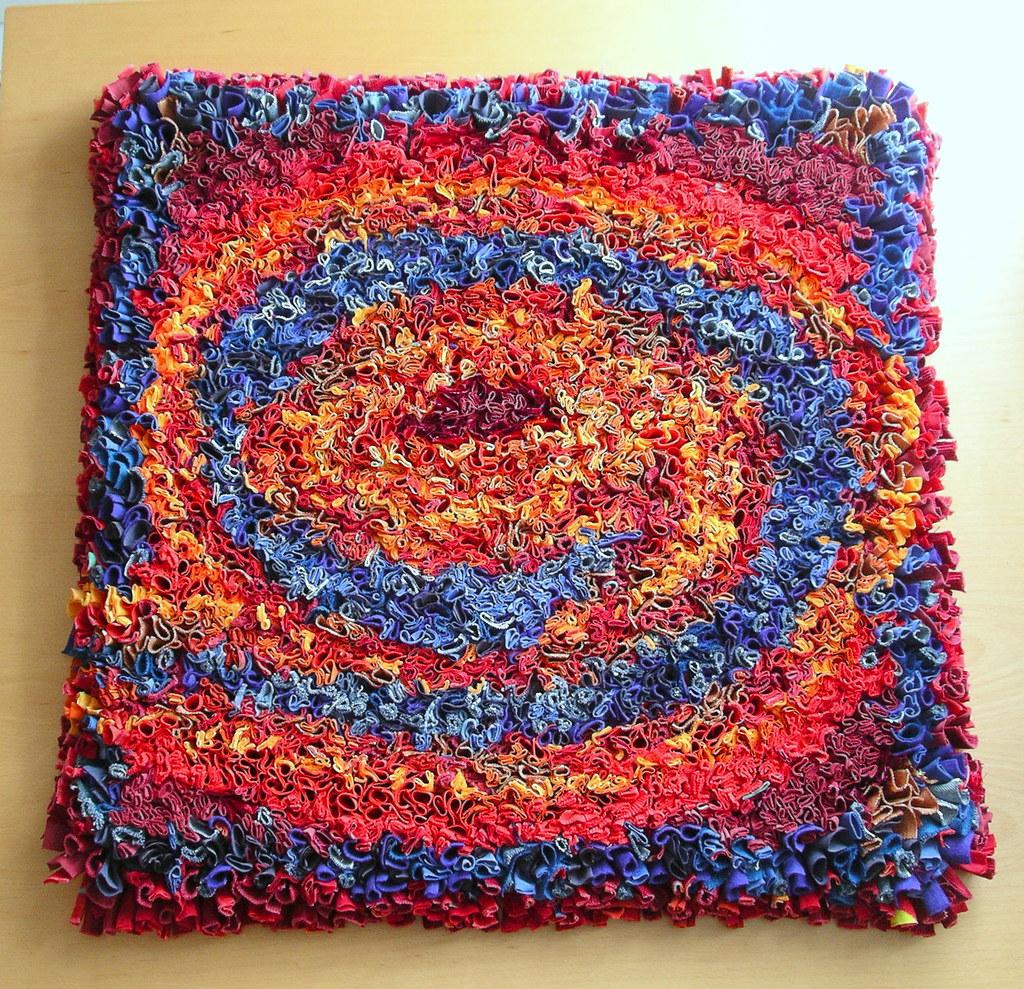 Fire & Water - rag rug wall hanging