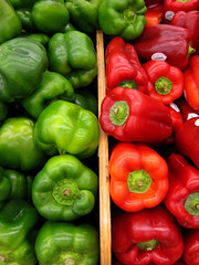 Pepper Power , Red and Green (moonjazz) Tags: life red food verde green contrast store rojo natural good cook tasty fresh crisp eat health vegtables opposites peppers produce grocery shape healthyfood