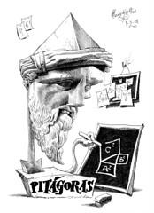 PITGORAS de Samos (Morales de los Ros) Tags: writers caricaturas philosophers caricatures escritores filsofos