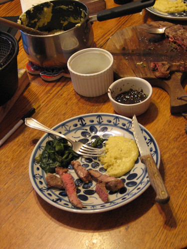 Sauteed lamb, gorgonzola polenta, and steamed Spinach