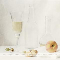 ... (AlexEdg) Tags: stilllife art texture paper bottle wine peach stilleben bodegn 2008 naturemorte gooseberries naturamorta naturalezamuerta postprocessing alexedg alledges
