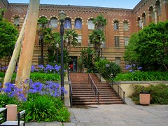 UCLA (youneverknowphotography) Tags: flowers trees sky stairs colorful university palm ucla trashcan railing bushes