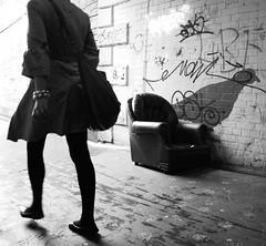 Fountainbridge Underpass Leather Armchair (Semi-detached) Tags: road street light white black west girl monochrome leather underpass walking subway concrete photography graffiti scotland edinburgh grafitti tunnel sofa end walls armchair auld foreground dalry fountainpark fountainbridge reekie aplusphoto couchinthelandscape