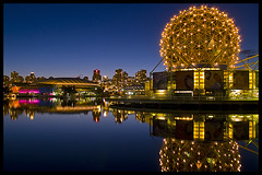 Cobalt blue mirror (Eric Flexyourhead (Trying to catch up!)) Tags: longexposure blue canada water skyline night vancouver reflections gold lights downtown bc britishcolumbia dome falsecreek geodesic cobalt science