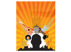 Character Flyer (ben.bibikov) Tags: camera city selfportrait man black disco book flyer guitar character ad banner advertisement sunrays vector lineart coffecup adobeillustrator silhoute bibikova