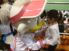 mascot and little girl