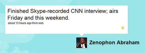 Skype-recorded CNN interview by you.