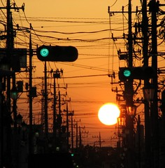 soka sunset strip (peet-astn) Tags: sunset trafficlights japan tokyo cables wires getty telegraph soka ploes